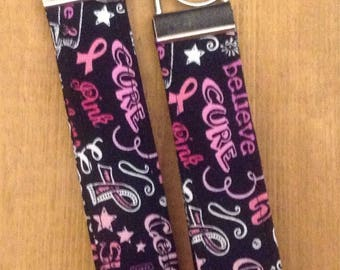 Fabric Key Fob ~ Breast Cancer Awareness ~ Pink Ribbons ~ Survivor ~ Cure