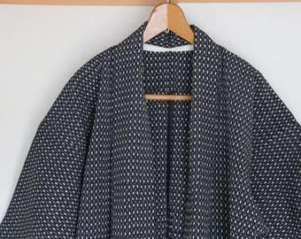 Vintage Japanese Kimono /// white dots Kimono, Black vintage kimono, kimono Robe, Black gown, Vintage kimono robe, Vintage black gown