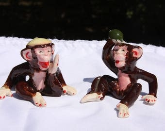 Weird Vintage Monkey Figurines Knick Knacks Made in Japan