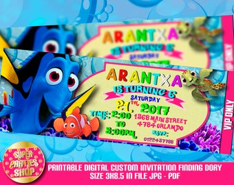 Finding dory  Digital  Printable invitation,finding dory  Custom Party ,Birthday,f Party, Supply, Kit, Pack,Vip, Ticket, Pass