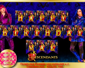 Descendants 2 , Descendants invite, Digital Printable Banner All alphabet, letters A-Z, Custom Party, Descendant ,Birthday, Custom, Kit,Pack