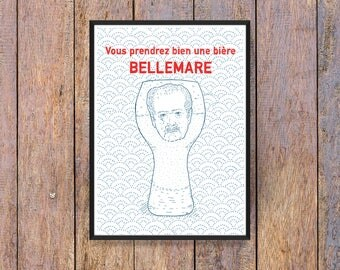 """Illustration A4 """"will you have a beer Bellemare?"""" - humor - poster - Poster - wall - Digital"""