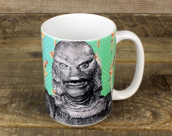 Creature from the Black Lagoon MUG Gill-man Amazon Horror Movie Gifts for Him Monster Mania Pin Up girls Kay Lawrence Classic Movie Monsters