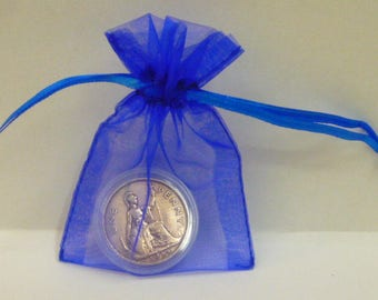 80th Birthday Gift Shiny 80 Year Old 1938 British Penny Coin Presented in a Coin Capsule & Blue or Pink Gift Bag Genuine Pre-Circulated Coin