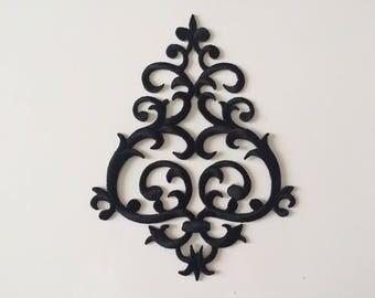 Black applique embroidered fusible 11 * 14 cm