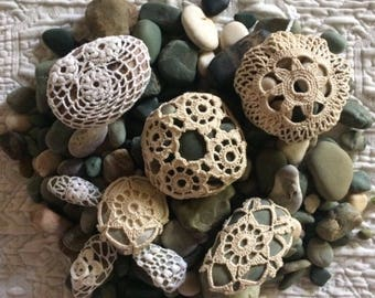 Set of 5 crochet stones hand made decoration