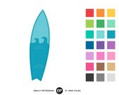 50% OFF SALE! Surfboard Clip Art, Summer Clipart, Beach Clip Art - Commercial Use, Instant Download
