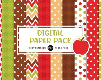 50% OFF SALE! Apple Orchard Digital Paper, Fall Background Paper - Commercial Use, Instant Download