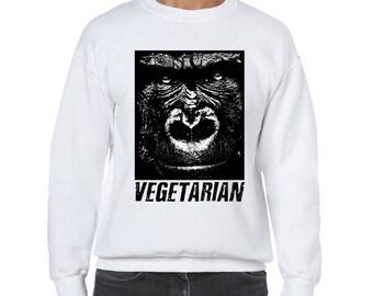 "UNISEX ""Vegetarian"" Crewneck Gorilla Sweater - Vegan, Vegetarian, Vegan Shirt, Animal Rights"