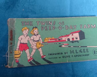 The twins at peep o day farm vintage book