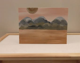 Acrylic Painting, Pink Sky Mountains