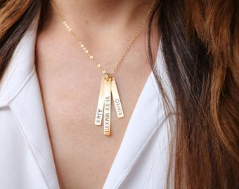 Vertical bar necklace, Mom necklace, Baby name necklace, Engraved Personalized necklace, Custom Baby name necklace Mothers day gift for mom