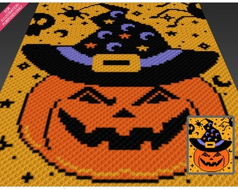 Happy Halloween crochet blanket pattern; c2c, cross stitch; graph; pdf download; no written counts or row-by-row instructions