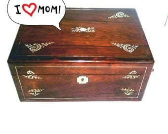 Antique Rosewood Sewing Box with Mother of Pearl Marquetry Inlay (696)