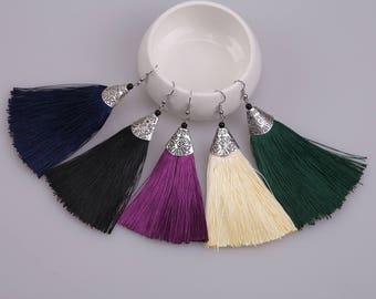 Colorful Tassel Dangle Earrings,Copper Fish Hook Earrings,Blue,Purple,Yellow,Green,Blue Drop Earrings for Women, New Bohemian Jewelry