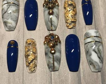 Glue Included | Royal Blue Marble Gold Swarovski Crystal Accent Press On Nails | Glue On Nails | Fake Nails | False Nails