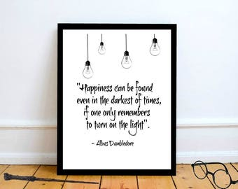 Framed Harry Potter Wall Art Print| Harry Potter Gift | Dumbledore Quote |Happiness can be found even in the darkest of times Quote|