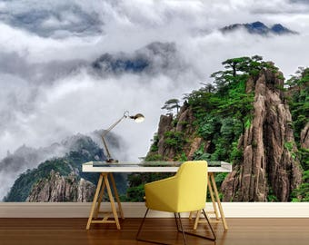 Chinese mountain wall mural, Asia wall mural, self-adhesive vinly, fogy  mountain wall mural, fogy wallpaper, mountain wall decal, wallpaper