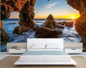 cave wallpaper, ocean cave wall mural, Ocean sunrises wallpaper, cave wall mural, tropical wall mural, cave ocean wallpaper, sea wallpaper,