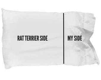 Rat Terrier Pillow Case - Rat Terrier Gifts - Funny Rat Terrier Pillow Cover - Rat Terrier Side My Side Pillowcase