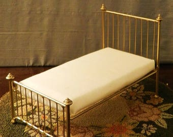 "Artisan Made Dollhouse Miniature Wrought Iron Look Bed ""Olivia"" 1:12 Scale Twin and Full, Half Scale"