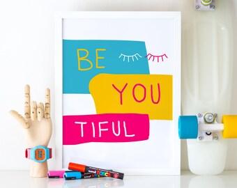 Beyoutiful - Colorful Print, Printable Art, Nursery Print, Abstract Print, Printable Nursery Decor, Colorful Wall Art, Printable Beyoutiful