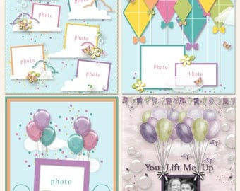 Up In The Air Digital Scrapbooking Templates