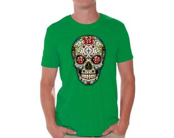 Sugar Skull Roses Shirt T shirts for Men Shirts  Tshirts Tops Tees Sugar Skull Shirt Red Roses Shirt Day of Dead Tshirt