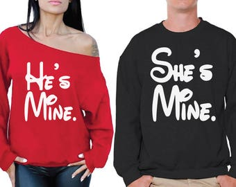He's Mine She's Mine Sweatshirts for Couples Boyfriend Girlfriend Valentine's Couples Husband Wife Matching Couple Sweaters Love Sweatshirts