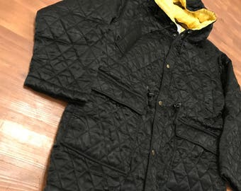 Vintage Umen Studios Parka jacket Black and yellow inside lining Medium Unisex 90's