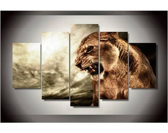 Leopard Canvas Art, Leopard Wall Art, Leopard 5 Piece Canvas Print, Leopard Wall decor, Leopard Wall Art Framed