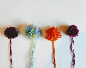 Pom poms set of four pom poms ready to ship free shipping choose colors and yarn type supply for  embellishments and decorations