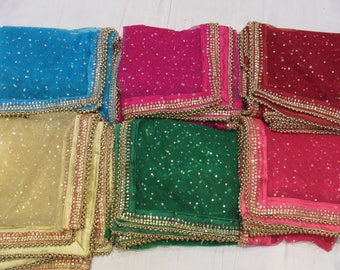 Indian Net  Dupatta Women stole Elegant Evening Scarves Gifts for Her Bridesmaid Stoles Scarves Dupatta