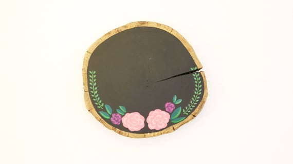 """Tree cover with chalkboard paint and flower decor """"hygge"""" incl. suspension"""