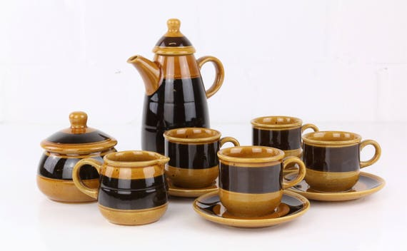Melitta Burgundy Mocha Service Brown Coffeeset hand painted 11 parts earthenware German pottery