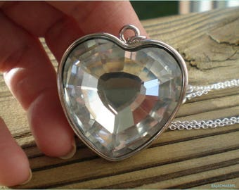 Silver Heart Necklace, Glass Pendant Necklace, Jewelry Findings