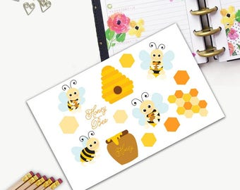 Honey Bee Stickers, All Happy Planner Stickers, Add On Set, Stickers, Printed, Cut, Functional Sticker, Any Planner, Spring, Birthday