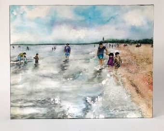 READY TO SHIP! People, families walking on shoreline — Montrose Beach, Chicago - Watercolor art print mounted on wood panel — ready to hang