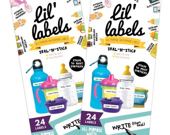 All-Purpose Labels, SET of 2 (All-Purpose White 24pk / waterproof labels for daycare / dishwasher-safe labels for school) FREE ship in US