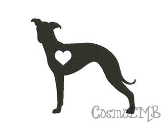 8 Size Greyhound Embroidery Applique design Machine Embroidery - Digital INSTANT DOWNLOAD