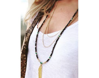 Colorful agate and Golden Feather necklace