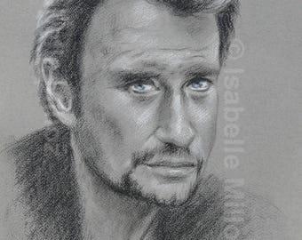 Johnny Hallyday Portrait original noir et blanc yeux bleus 30x40 cm / dessin à la main / portrait de Johnny Hallyday