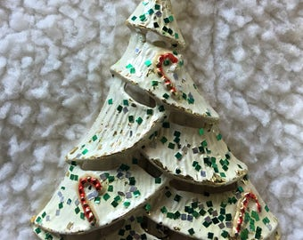 Vintage White Enamel Christmas Tree with Candy Canes Signed BJ (Beatrix) Brooch