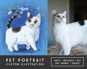 1 Pet Custom Portrait - Storybook Style - DIY Digital Printable, Illustration Commission, Cat Portrait, Dog Portrait, Memorial Art