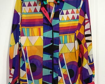 Gottex Vintage multicolor Bathing suit Cover-up Shirt-Size M