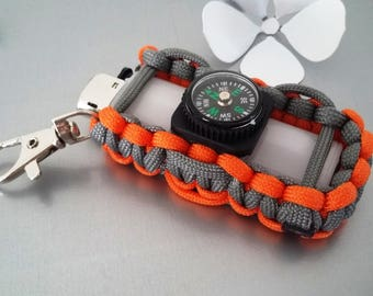 key ring case lighter with compass in Paracord in orange/grey tones