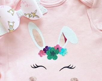 Easter bunny floral bodysuit
