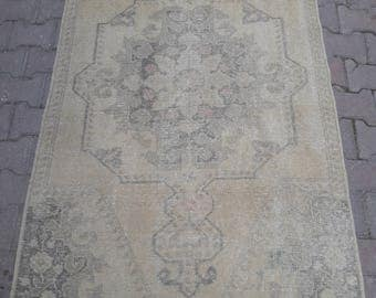 "Oushak rug,Turkish rug ,faded muted colored decorative rug home of decor rug,new fashion desing rug,3""7×6""8 ft/114×210cm."