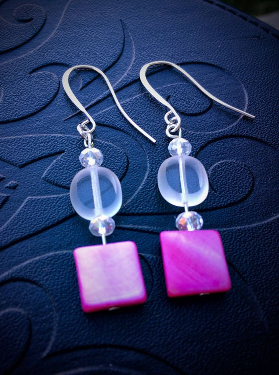 Pink accent earrings