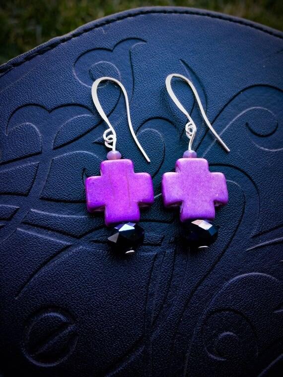 Black and Purple Cross earrings